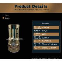 Regenschutz Anti-Rutsch-LED Taschenlampe Taschenlampe Gold Taschenlampe
