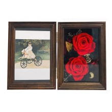 High quality 5x7 custom walnut wood Christmas Valentine's Day Never Withered Roses Gifts Preserved Immortal Flower Photo Frame
