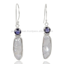 Natural Iolite e Biwa Pearl Gemstone 925 Streling Sliver Earring