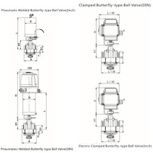 Сантехнический пневматический / электрический шаровой клапан типа бабочка
