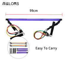 Melors - Barra de ejercicio ajustable y portátil para yoga y pilates, barra de pilates con bandas de resistencia para un entrenamiento corporal total