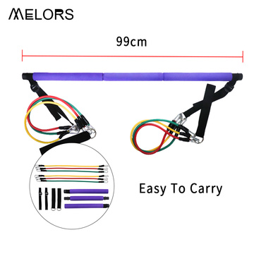 Melors Adjustable dan Portable Yoga Pilates Tongkat Latihan Pilates Bar Kit dengan Band Resistensi untuk Latihan Tubuh Total