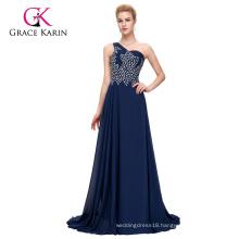 Grace Karin One Shoulder Heavy Beaded Chiffon Navy Blue Long Prom Dress CL4506-2