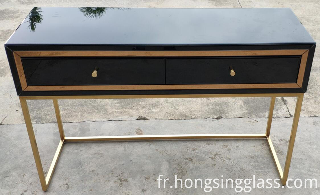 Black Gold 2 Drawe Dressing Table Metal Leg