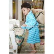 Blue Stripe Printed children kids Soft Warm Fleece bathrobe with Hood