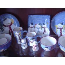 Assiette à dîner en céramique peinte à la main avec motif de Noël