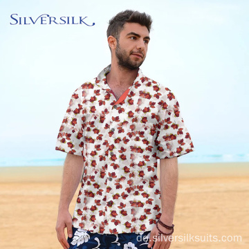 Print Herren Bluse Short Red Flower Custom Shirt