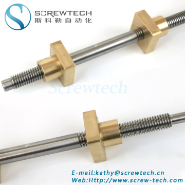 Square nut lead screw Tr12x2 with brass nut