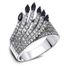 Diseño hueco cubic zircon indios pluma mujeres CZ anillo