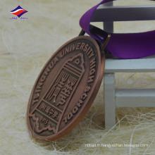 Round forme universitaire lycée métal médaille alliage de zinc