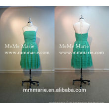 Kurzer Abend Party Muster Green Layered Knielänge Brautjungfer Kleid Party Mädchen