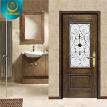 Wooden Look with Glass Security Metal Door for Indonesia