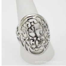 Wholesale Punk Style Geometric Hollow Oval Stainless Steel Party Ring