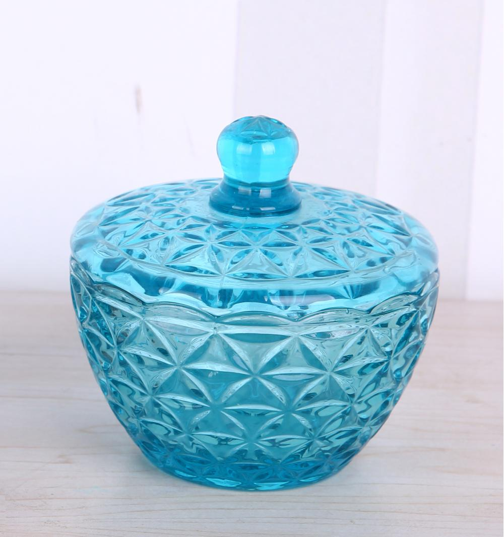 Blue Engraved Glass Candy Jar Storage Box With Lid