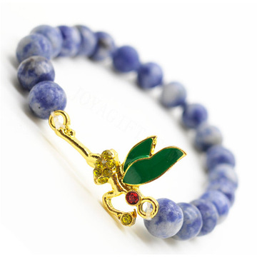 Sodalite Gemstone Bracelet with Diamante alloy dragonfly Piece