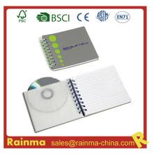 Cuaderno espiral con bolsillo CD