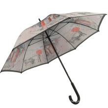 hübsche Zeichnung London 23inch schwarzer Holzgriff Regenschirm