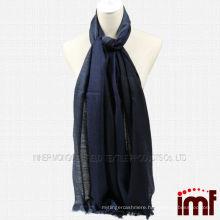 oem 50% wool 50% cashmere navy pashmina herringbone blended scarf