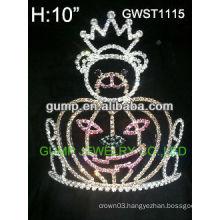 Large cheap Holiday pumpkin queen pageant custom rhinestone crown tiara -GWST1115