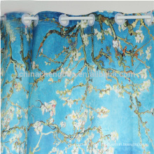 Plastic Curtain Rings Printed Fabric Shower Curtain