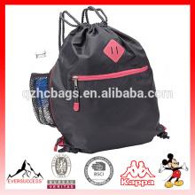 Saco de nylon do Gym do esporte dos sacos de cordão com suporte de garrafa