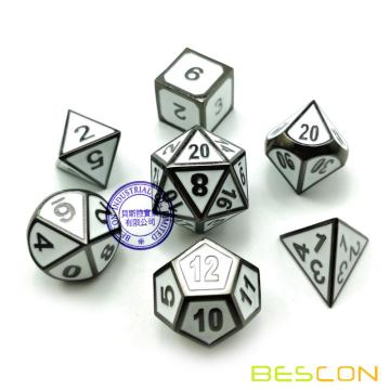 Bescon Deluxe Glossy Black and Elegant White Enamel Solid Metal Polyhedral Role Playing RPG Game Dice Set of 7