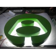 Individuelle Unternehmen Logo Rahmen Edelstahl Farbe Grün wieder leuchtet LED Buchstaben Zeichen
