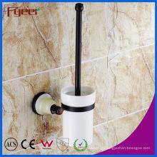 Base de cerâmica Fyeer preto banheiro acessório latão titular escova de vaso sanitário