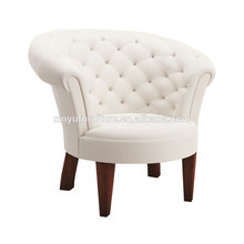 Elegant white leather hotel arm chair XYD241