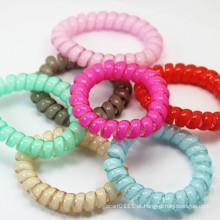Braceletes plásticos impermeáveis da cor elástica espiral dos doces do fio do telefone (JE1588)