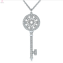 Top-Sale key style 925 sterling silver pendant inlaid CZ