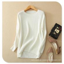 Mulheres Pants Malha Pure Cashmere Sweater Pullover cor sólida com manga comprida O Neck