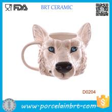 Regalo de cumpleaños de la taza de cerámica de la forma de la cabeza del lobo de la novedad