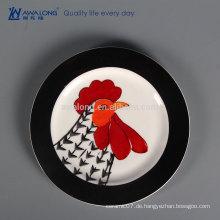 Hahn Design Restaurant verwendet Geschirr Geschirr, feine Keramikplatte mit Abziehbild