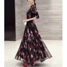 Spring Ladies Chiffon Printed Stand Collar Long Sweet Dress