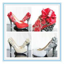 Último estilo rojo zapatos de tacón alto de cristal nupcial (ws-5022)