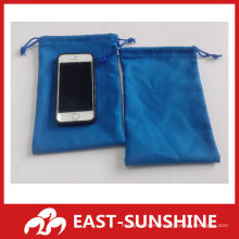 cheap two-side flannel drawstring bag for sunglases/phone