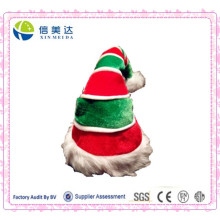 Wholesale Red and Green Plush Long Christmas Festival Cap