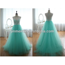 Free Shipping Cheap Jewel Collar Sleeveless Pleat Lace and Tulle Blue A-line Long Real Evening Dress Express
