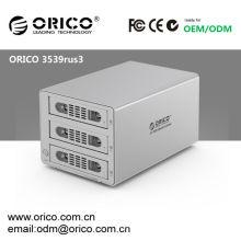 "RAID Enclosure ORICO 3539RUS3 Aluminum USB 3.0 eSATA, 3 bay, 3.5"" SATA RAID External Enclosure 6Tb"