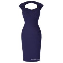 Belle Poque Stock Sleeveless Hollowed Back Nylon-Cotton Hips-Wrapped Navy Retro Cheap Vintage Dress BP000155-7