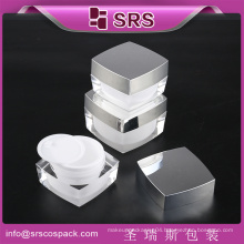 SRS made in China square acrylic Cosmetic Container Product, 50g empty plastic cream jar with screw cap