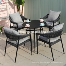 Modern  rope woven garden dining set cafe shop rope furniture  5 pieces webbing chair and coffee  table