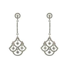 Boucles d'oreilles pendantes en argent sterling 925 avec zircon cubique