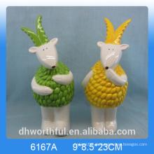 Kreative Tierfigur Keramikziege Ornament