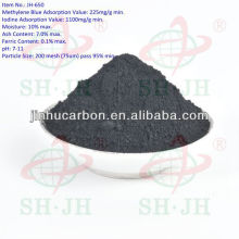 Wood powder based activated carbon for textile industry bleaching