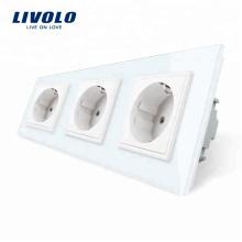 Livolo Prises de courant murales à trois parois standard UE VL-C7C3EU-11