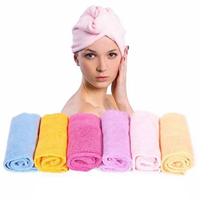 hair towel wrap with button