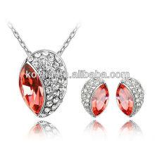 Brincos de pedras preciosas conjunto conjunto de jóias de ouro branco conjunto de colar de cristal ruby