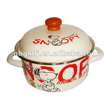 fashional ename pot with enamel lid and wooden knob